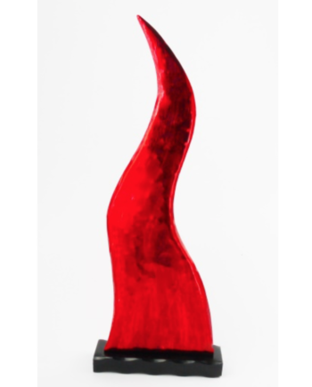 Red Good Luck Horn Paperweight with Large Base