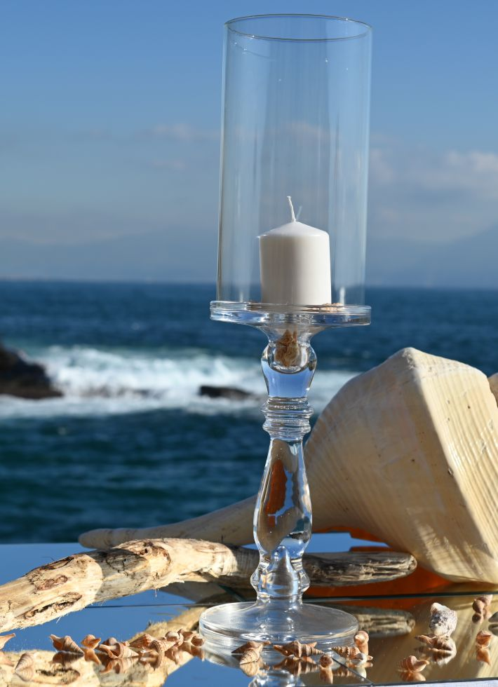 Elegant Candle Holder Height 60 cm with Flame Arrester Neapolitan Glass