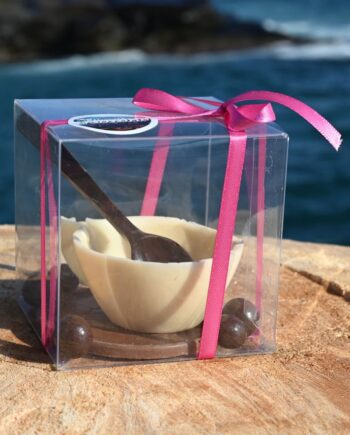 Special Handmade Cup in White Chocolate with Plate in Milk Chocolate